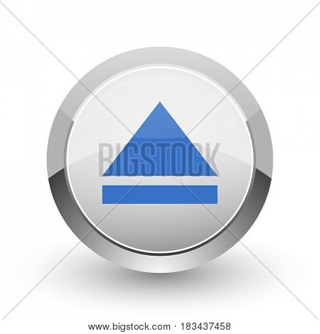 Eject chrome border web and smartphone apps design round glossy icon.
