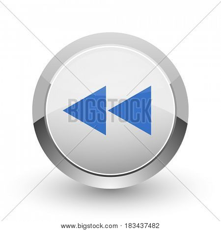 Rewind chrome border web and smartphone apps design round glossy icon.