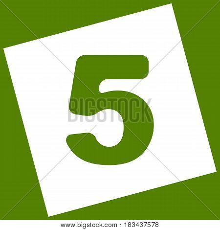 Number 5 sign design template element. Vector. White icon obtained as a result of subtraction rotated square and path. Avocado background.