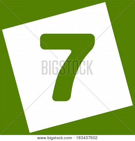 Number 7 sign design template element. Vector. White icon obtained as a result of subtraction rotated square and path. Avocado background.