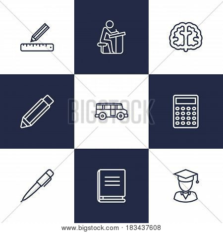 Set Of 9 Education Outline Icons Set.Collection Of Calculator, Pupil, Bus And Other Elements.