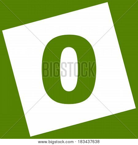 Number 0 sign design template element. Vector. White icon obtained as a result of subtraction rotated square and path. Avocado background.