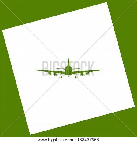 Flying Plane sign. Front view. Vector. White icon obtained as a result of subtraction rotated square and path. Avocado background.