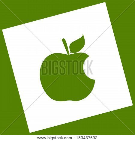 Bite apple sign. Vector. White icon obtained as a result of subtraction rotated square and path. Avocado background.
