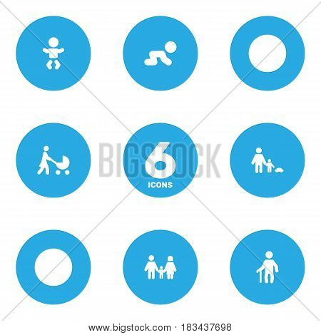 Set Of 6 People Icons Set.Collection Of Relatives, Perambulator, Kid And Other Elements.