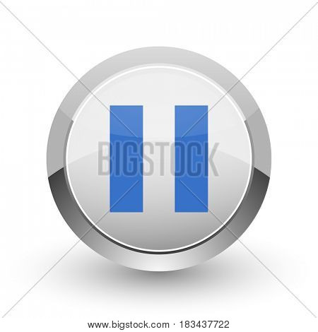 Pause chrome border web and smartphone apps design round glossy icon.