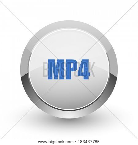 MP4 chrome border web and smartphone apps design round glossy icon.
