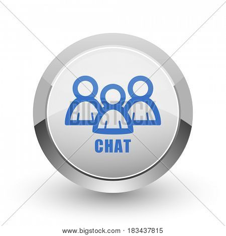 Chat chrome border web and smartphone apps design round glossy icon.