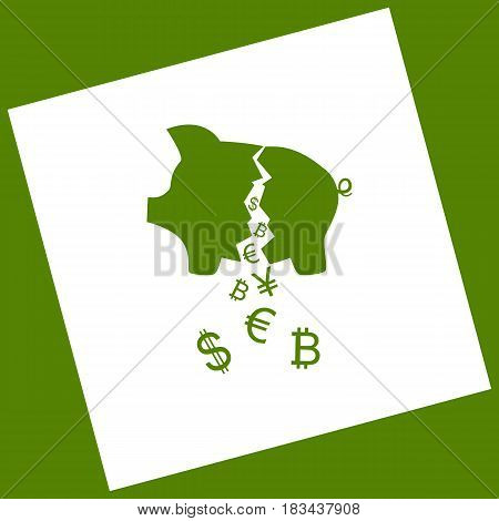 Pig money bank sign. Vector. White icon obtained as a result of subtraction rotated square and path. Avocado background.