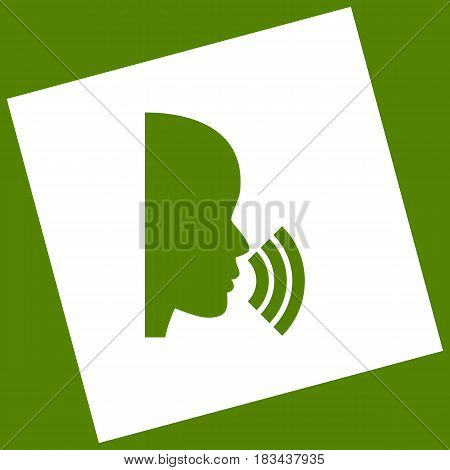 People speaking or singing sign. Vector. White icon obtained as a result of subtraction rotated square and path. Avocado background.