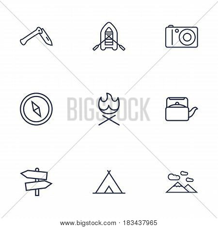 Set Of 9 Picnic Outline Icons Set.Collection Of Compass, Teapot, Guidepost And Other Elements.
