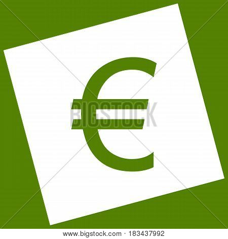 Euro sign. Vector. White icon obtained as a result of subtraction rotated square and path. Avocado background.