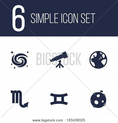 Set Of 6 Galaxy Icons Set.Collection Of Space, Lunar, Binoculars And Other Elements.