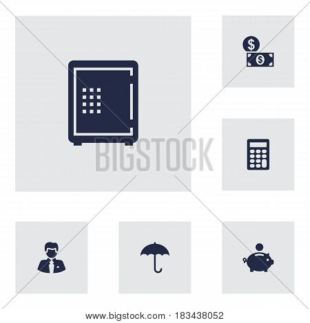 Set Of 6 Sponsor Icons Set.Collection Of Umbrella, Piggy Bank, Strongbox And Other Elements.