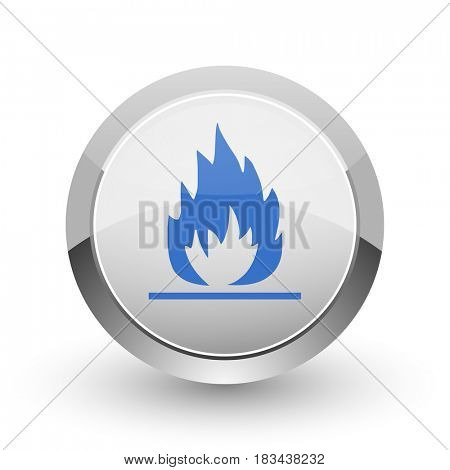 Flame chrome border web and smartphone apps design round glossy icon.