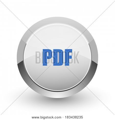 Pdf chrome border web and smartphone apps design round glossy icon.