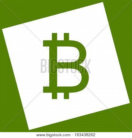 Bitcoin sign. Vector. White icon obtained as a result of subtraction rotated square and path. Avocado background.