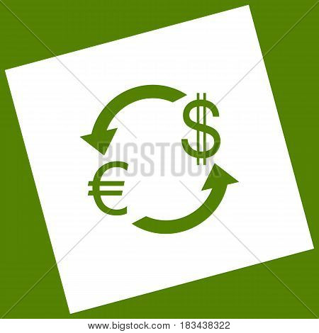 Currency exchange sign. Euro and Dollar. Vector. White icon obtained as a result of subtraction rotated square and path. Avocado background.