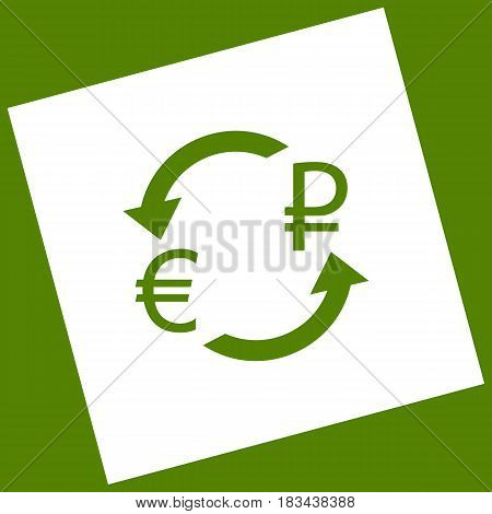 Currency exchange sign. Euro and Russia Ruble. Vector. White icon obtained as a result of subtraction rotated square and path. Avocado background.