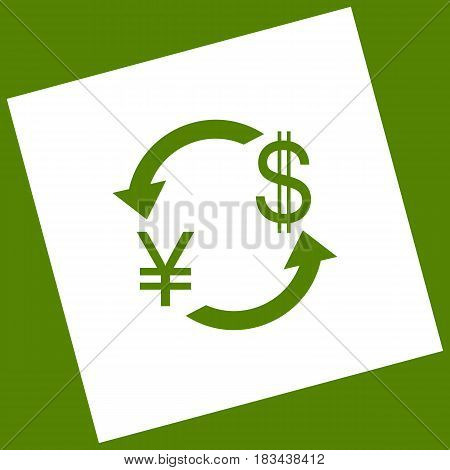 Currency exchange sign. Japan Yen and US Dollar. Vector. White icon obtained as a result of subtraction rotated square and path. Avocado background.