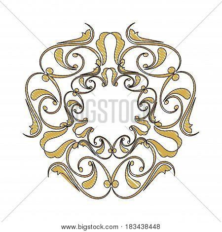 golden ornate decor heraldry floral image vector illustration
