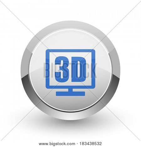 3d display chrome border web and smartphone apps design round glossy icon.