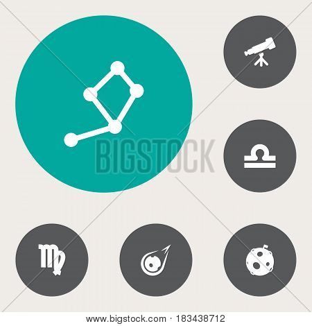 Set Of 6 Astronomy Icons Set.Collection Of Horoscope, Binoculars, Virgin And Other Elements.