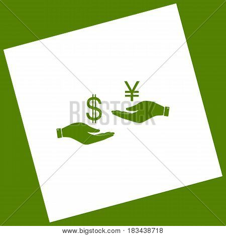 Currency exchange from hand to hand. Dollar and Yen. Vector. White icon obtained as a result of subtraction rotated square and path. Avocado background.