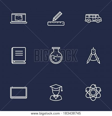 Set Of 9 Studies Outline Icons Set.Collection Of School Board, Graduated, Ruler And Other Elements.