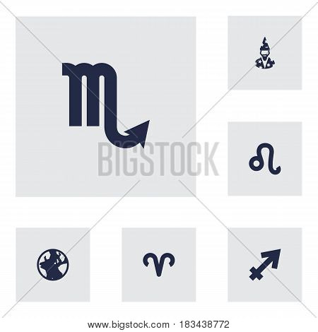 Set Of 6 Horoscope Icons Set.Collection Of Zodiac Sign, Archer, Earth Planet And Other Elements.