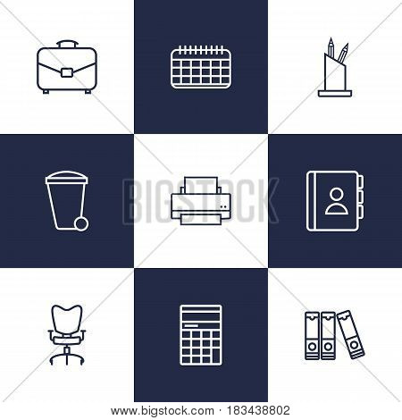 Set Of 9 Work Outline Icons Set.Collection Of Portfolio, Document Case, Pen Storage And Other Elements.