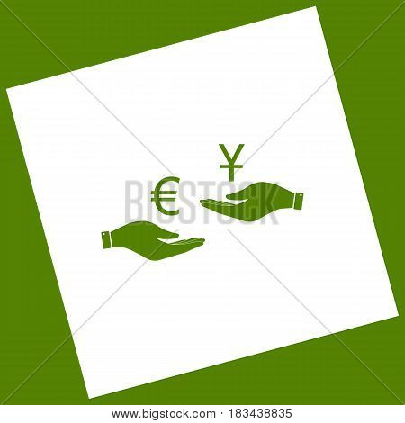 Currency exchange from hand to hand. Euro and Yuan. Vector. White icon obtained as a result of subtraction rotated square and path. Avocado background.