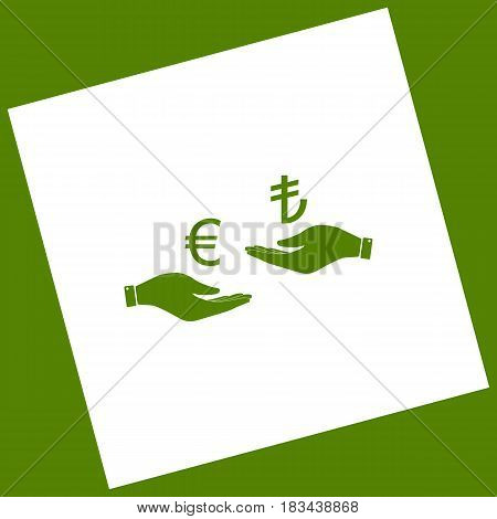 Currency exchange from hand to hand. Euro and Lira. Vector. White icon obtained as a result of subtraction rotated square and path. Avocado background.