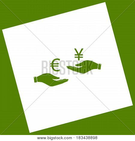 Currency exchange from hand to hand. Euro and Yen. Vector. White icon obtained as a result of subtraction rotated square and path. Avocado background.