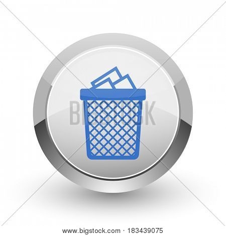 Trash can chrome border web and smartphone apps design round glossy icon.