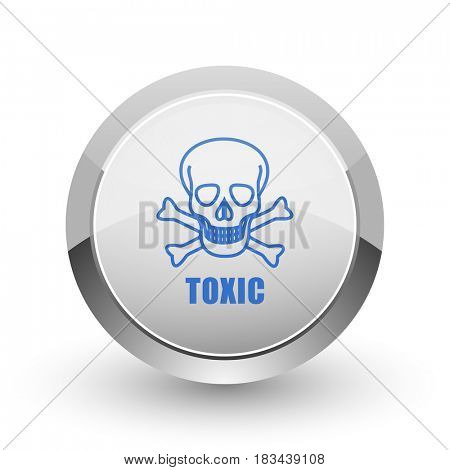 Toxic skull chrome border web and smartphone apps design round glossy icon.