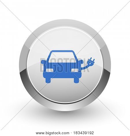 Electric car chrome border web and smartphone apps design round glossy icon.