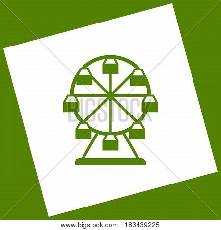 Ferris wheel sign. Vector. White icon obtained as a result of subtraction rotated square and path. Avocado background.