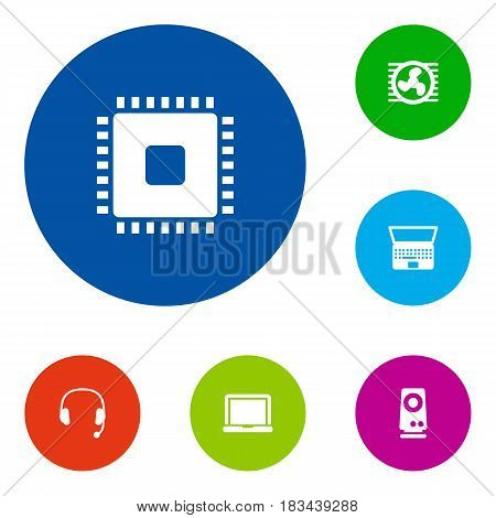 Set Of 6 Laptop Icons Set.Collection Of Microprocessor, Amplifier, Laptop And Other Elements.