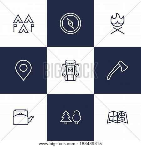 Set Of 9 Adventure Outline Icons Set.Collection Of Ax, Teapot, Bonfire And Other Elements.