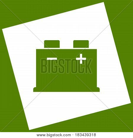 Car battery sign. Vector. White icon obtained as a result of subtraction rotated square and path. Avocado background.