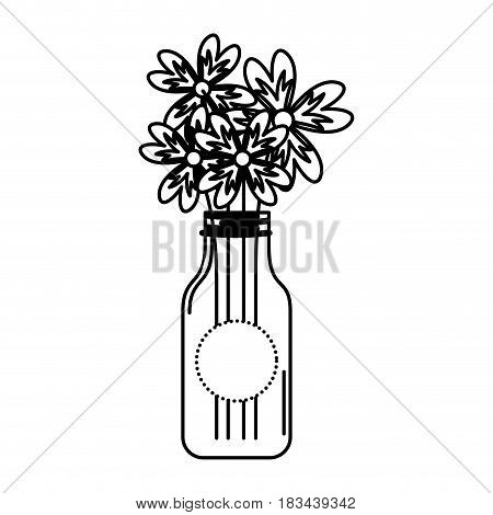 cristal bottle with flowers isolated icon vector illustration design