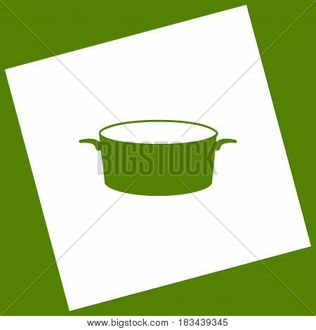 Pan sign. Vector. White icon obtained as a result of subtraction rotated square and path. Avocado background.
