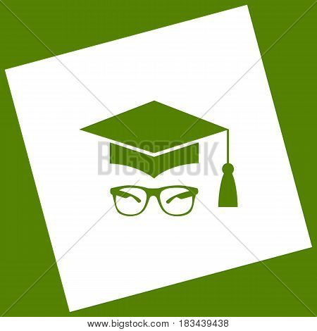 Mortar Board or Graduation Cap with glass. Vector. White icon obtained as a result of subtraction rotated square and path. Avocado background.