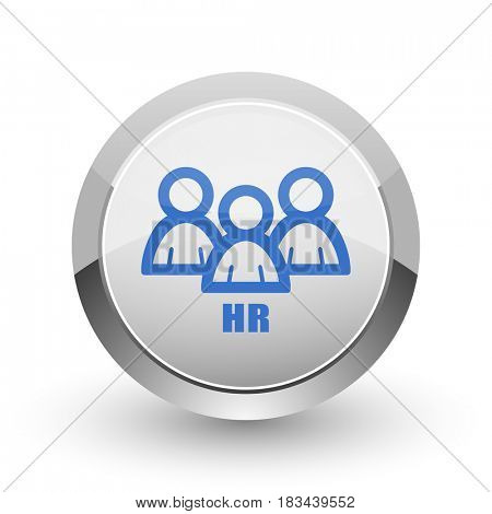 HR chrome border web and smartphone apps design round glossy icon.