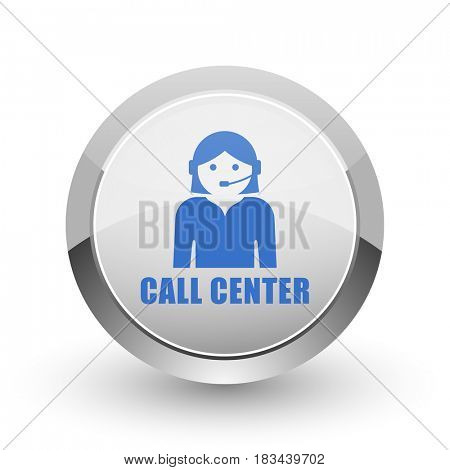Call center chrome border web and smartphone apps design round glossy icon.