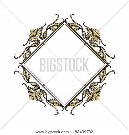 vintage frame geometric decoration heraldry blank vector illustration