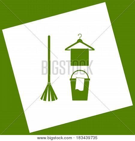 Broom, bucket and hanger sign. Vector. White icon obtained as a result of subtraction rotated square and path. Avocado background.