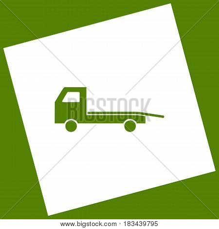 Service of evacuation sign. Wrecking car side. Car evacuator. Vehicle towing. Vector. White icon obtained as a result of subtraction rotated square and path. Avocado background.