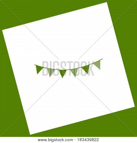 Holiday flags garlands sign. Vector. White icon obtained as a result of subtraction rotated square and path. Avocado background.